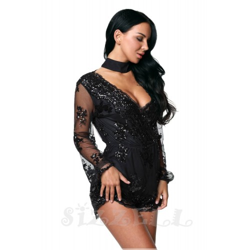 "THE ""REANA"" GLAM LUXE SEQUIN & EMBROIDERED CHIC ROMPER...  BLACK..."