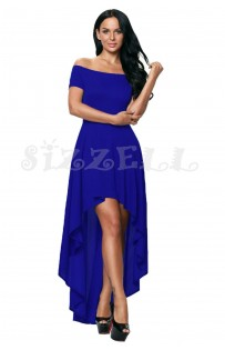 "THE ""PIA"" OFF SHOULDER LUXE HI-LOW HEMLINE DRESS... ROYAL BLUE..."
