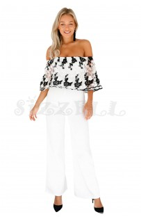 "THE ""PAULINE"" LUXE OFF SHOULDER FLORAL LACE & EMBROIDERED OVERLAY JUMPSUIT.. WHITE W/ BLACK PINK..."