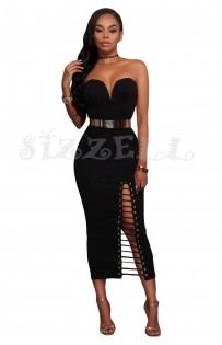 "THE ""JILLIAN"" LUXE STRAPLLES MIDI DRESS W/ BELT.... BLACK..."