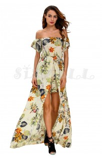 "THE ""WILLOW"" LUXE BOHO FLORAL OFF SHOULDER ROMPER MAXI.... WHITE FLORAL..."