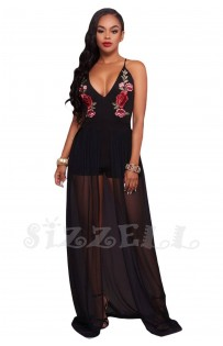 "THE "" ANITA""  FLORAL EMBROIDERED LUXE ROMPER MAXI..."
