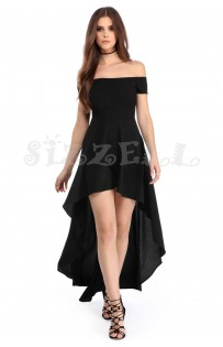 "THE ""PIA"" OFF SHOULDER LUXE HI-LOW HEMLINE DRESS... BLACK..."