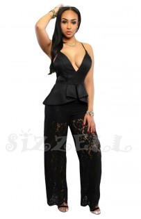 "THE "" LENA"" LUXE PEPLUM & LACE JUMPSUIT... BLACK..."