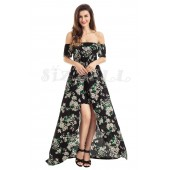 "THE ""WILLOW"" LUXE BOHO FLORAL OFF SHOULDER ROMPER MAXI.... BLACK FLORAL..."