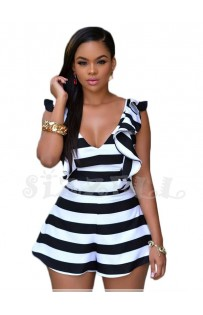 "THE ""BEVERLY""  LUXE STRIPED ROMPER W/ RUFFLES..."