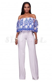 "THE ""PAULINE"" LUXE OFF SHOULDER  FLORAL LACE & EMBROIDERED OVERLAY JUMPSUIT..  WHITE W/ BLUE..."