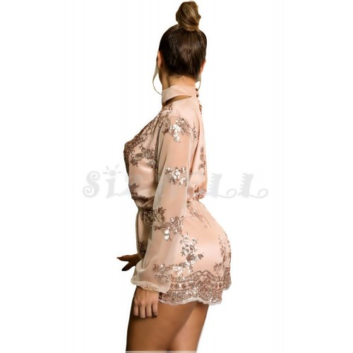 "THE ""REANA"" GLAM LUXE SEQUIN & EMBROIDERED CHIC ROMPER... PINK CHAMPAGNE..."