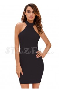 "THE ""MYA"" LACE-UP OPEE BACK CURVED HALTER LUXE DRESS.... BLACK..."