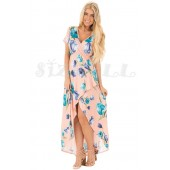 "THE ""JOLIE"" LUXE FLORAL MOCK WRAP BOHO MAXI DRESS... PINK FLORAL..."