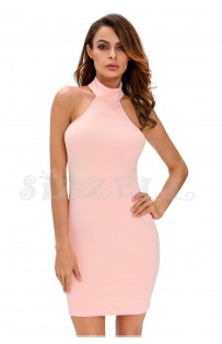 "THE ""MYA"" LACE-UP OPEE BACK CURVED HALTER LUXE DRESS.... PINK SUGAR..."