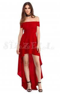 "THE ""PIA"" OFF SHOULDER LUXE HI-LOW HEMLINE DRESS... RED..."