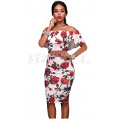 "THE ""OLGA""  LUXE ROSE PRINT OFF SHOULDER TOP & PENCIL SKIRT SET..."