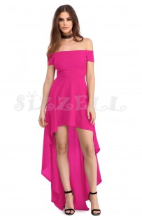 "THE ""PIA"" OFF SHOULDER LUXE HI-LOW HEMLINE DRESS... ROSE..."