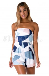 "THE ""BETTY""  STRAPLESS HORIZEN TEXTURE COLORBLOCK LUXE ROMPER...."