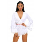 "THE ""LINDA"" BOHO LUXE BELL SLEEVED ROMPER...  BOHO WHITE..."