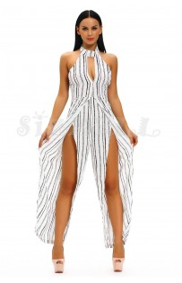 "THE "" GIA"" STRIPED HALTER LUXE BACKLESS JUMPSUIT W/ HIGH SLIT LEGS... WHITE W/ BLACK STRIPES..."