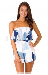 "THE ""DEEDEE"" STRAPLESS TEXTURE PRINT STRAPLESS LUXE ROMPER ..."