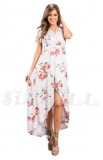 "THE ""JOLIE"" LUXE FLORAL MOCK WRAP BOHO MAXI DRESS...  WHITE FLORAL..."