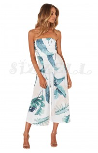 "THE ""GILLA"" LUXE STRAPLESS WIDE LEG CAPRI JUMPSUIT... WHITE LEAF PRINT..."