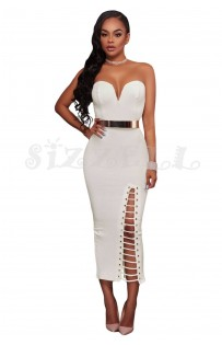 "THE ""JILLIAN"" LUXE STRAPLLES MIDI DRESS W/ BELT.... WHITE..."