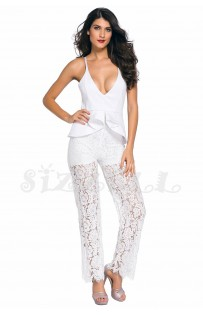 "THE "" LENA"" LUXE PEPLUM & LACE JUMPSUIT... WHITE..."
