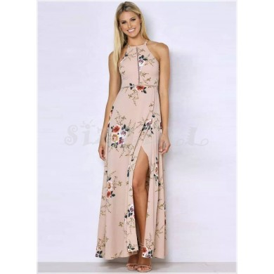 "THE ""BINDI"" LUXE BOHO FLORAL HALTER W/ CUTOUT BACK MAXI DRESS... BLUSH..."