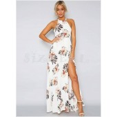 "THE ""BINDI"" LUXE BOHO FLORAL HALTER W/ CUTOUT BACK MAXI DRESS...  WHITE..."