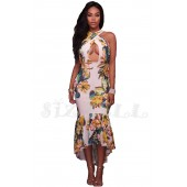 "THE ""CARA"" LUXE TROPICAL PRINT CROSS HALTER DRESS..."