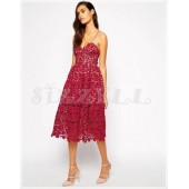 "THE ""AZAELEA"" GUIPORE FLORAL LACE LUXURY MIDI DRESS... BURGUNDY..."