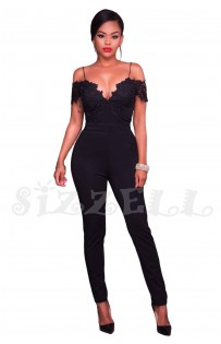 "THE ""EVETTE""  LUXE COLD SHOULDER LACE JUMPSUIT... BLACK..."