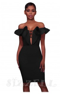 "THE ""TARA"" OFF SHOULDER RUFFLE DEEP-V CUT OUT BODYCON LUXE DRESS... BLACK..."