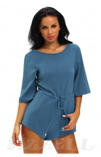"THE ""LINDY"" ELEGANT OPEN KNOT TIE BACK LUXE ROMPER... CORNFLOWER BLUE..."