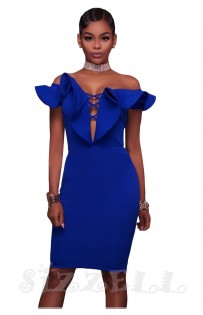 "THE ""TARA"" OFF SHOULDER RUFFLE DEEP-V CUT OUT BODYCON LUXE DRESS... ROYAL BLUE..."