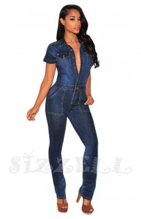 "THE ""RIRI"" LUXURY CARGO STYLE DARK DENIM JUMPSUIT..."
