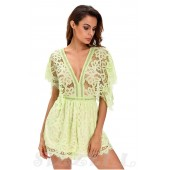 "THE ""EMMA"" STUNNING CROCHET LACE LUXURY ROMPER IN A UNIQUE BLUSHING WHISPER GREEN..."