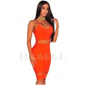 "THE ""QUINN"" LACE UP CUT OUT  DESIGN LUXURY BANDAGE DRESS... ORANGE BURST..."