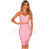 "THE ""QUINN"" LACE UP CUT OUT DESIGN LUXURY BANDAGE DRESS... PINK SORBET..."