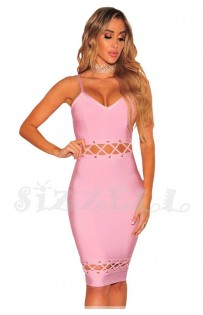 """THE """"QUINN"""" LACE UP CUT OUT DESIGN LUXURY BANDAGE DRESS... PINK SORBET..."""