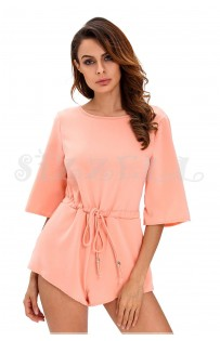 "THE ""LINDY"" ELEGANT OPEN KNOT TIE BACK LUXE ROMPER... SORBET..."