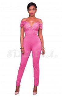 "THE ""EVETTE"" LUXE COLD SHOULDER LACE JUMPSUIT... PINK SORBET..."