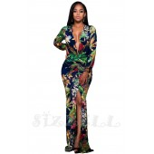 "THE ""NELLY"" LUXE PLUNGING NECKLINE STUNNING FLORAL PRINT MAXI DRESS..."