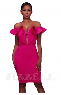 "THE ""TARA"" OFF SHOULDER RUFFLE DEEP-V CUT OUT BODYCON  LUXE DRESS... ROSE PINK..."