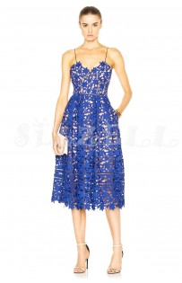 "THE ""AZAELEA"" GUIPORE FLORAL LACE LUXURY MIDI DRESS... ROYAL BLUE..."
