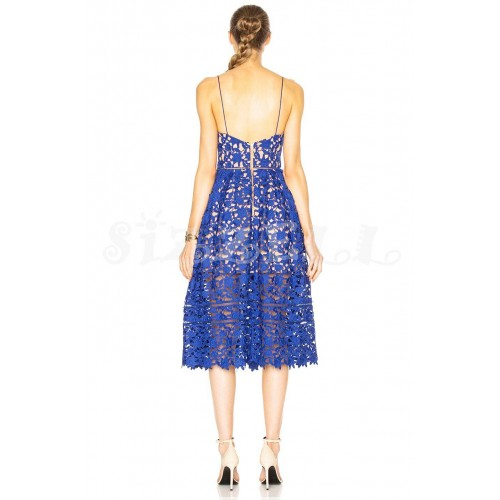 "THE ""AZAELEA"" GUIPORE FLORAL LACE LUXURY MIDI DRESS... ROYAL BLUE..."