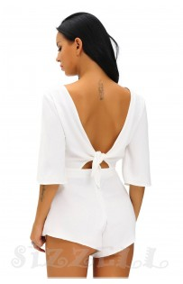 "THE ""LINDY""  ELEGANT OPEN KNOT TIE BACK LUXE ROMPER...  SUMMER WHITE..."