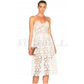 "THE  ""AZAELEA"" GUIPORE FLORAL LACE LUXURY MIDI DRESS...  WHITE..."