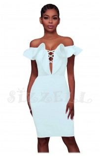 "THE ""TARA"" OFF SHOULDER RUFFLE DEEP-V CUT OUT BODYCON LUXE DRESS... WHITE..."