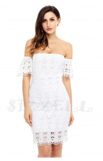 "THE ""ONEIDA""  OFF SHOULDER LUXURY DIAMOND LACE DRESS..."