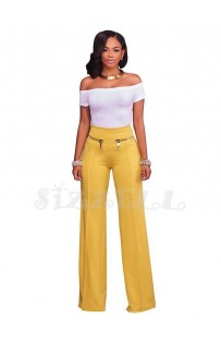 "THE ""AMIE"" CHIC HIGH WAISTED LUXURY WIDE LEG TROUSER W/ GOLD ZIP DETAILS.... YELLOW..."